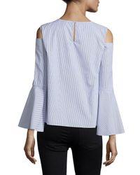 Saks Fifth Avenue Black - Blue Stripe Crewneck Cotton Blouse - Lyst
