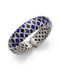 John Hardy - Metallic Naga Black Sapphire, Enamel & Sterling Silver Slim Flex Cuff Bracelet - Lyst