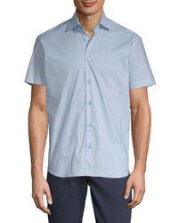 Bertigo - Blue Short-sleeve Cotton Button-down Shirt for Men - Lyst