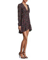 A.L.C. - Black Renate Floral Silk Dress - Lyst
