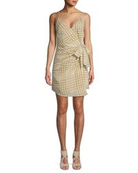 Free People - Green Nodia Checkered Cotton Wrap Dress - Lyst