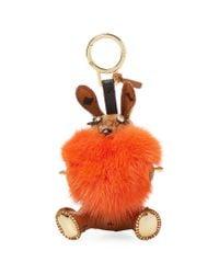 MCM - Orange Rabbit Fur Heart Animal Charm - Lyst