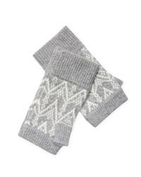 Sofia Cashmere - Gray Cashmere Fair Isle Fingerless Gloves - Lyst