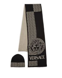 b198e40315a Versace - Purple Two-piece Greek Key Patterned Scarf And Beanie Set - Lyst