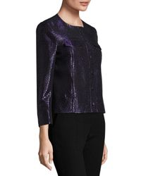 Anne Klein - Blue Jacquard Button Front Jacket - Lyst