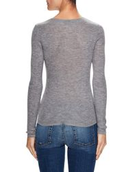 Sea Bleu - Gray Cashmere Fine Ribbed Crewneck Sweater - Lyst
