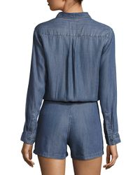 Rails - Blue Spread Collar Chambray Jumpsuit - Lyst