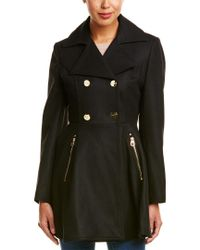 Laundry by Shelli Segal - Black Flared Wool-Blend Coat - Lyst