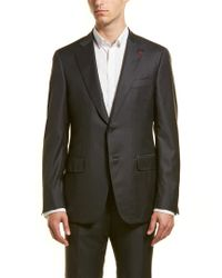 Isaia Gray Wool Suit With Flat Front Pant for men