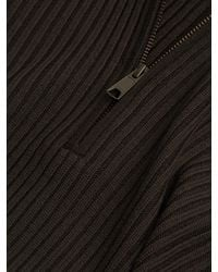 Vince - Brown Wool Ribbed Quarter Zip Sweater for Men - Lyst