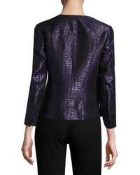 Anne Klein | Blue Jacquard Button Front Jacket | Lyst
