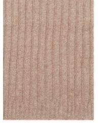 "Portolano - Brown Rib Knit Long Scarf, 68"" X 11"" - Lyst"