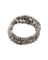 Bavna - Multicolor Pyrite, Agate & Diamond Bracelets (set Of 3) - Lyst