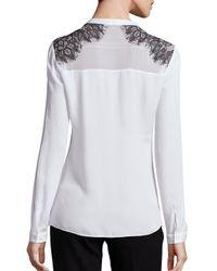 Elie Tahari - White Marion Silk Lace Applique Blouse - Lyst