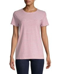Saks Fifth Avenue - White Stripe Crewneck Tee - Lyst