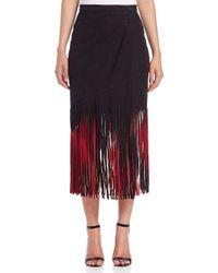 Tamara Mellon Red Signature Suede Fringe Skirt