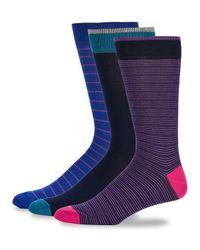 Saks Fifth Avenue - Blue Three-pack Fashion Stripe-print Socks for Men - Lyst