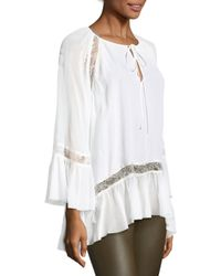 Alice + Olivia - White Luma Lace Trim Peasant Blouse - Lyst