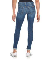Joe's - Blue Beckett Distressed Rolled-cuff Skinny Jeans - Lyst