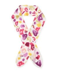 Louis Vuitton - Pink Vintage Silk Multi Bijou Lucky Scarf - Lyst