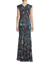 Tadashi Shoji - Blue Floral Floor-length Dress - Lyst