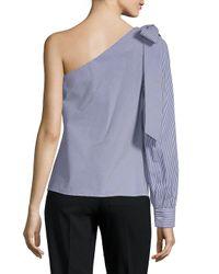 Saks Fifth Avenue Black - Blue One-shoulder Bow Top - Lyst