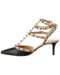 Valentino - Black Cage Rockstud 65 Leather Ankle Strap Pump - Lyst