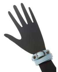 Balenciaga - Blue Classic Buckle Leather Wrap Bracelet - Lyst