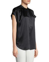 Vince - Black Shirred Neck Pullover - Lyst