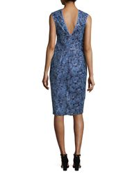 Nicole Miller - Blue Sequin Bodycon Dress - Lyst