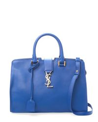 df71d6c3cda7 Lyst - Saint Laurent Cabas Monogram Small Leather Satchel in Blue