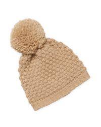 Portolano - Natural Ribbed Pom Hat - Lyst
