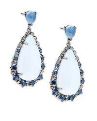 Bavna - Chalcedony Blue Sapphires And Champagne Diamonds Peardrop Earrings - Lyst