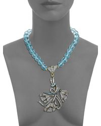 Heidi Daus - Blue Pick Of The Day Beaded Crystal Pendant Necklace - Lyst