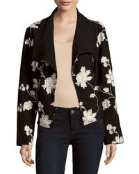 August Silk - Black Printed Front-open Jacket - Lyst