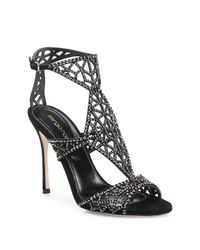 Sergio Rossi - Black Tresor Swarovski Crystal And Suede Sandals - Lyst