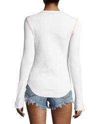 Free People - White Zip It Cuff Sweater - Lyst