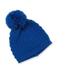 Portolano - Blue Ribbed Pom Hat - Lyst