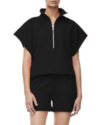 GOOD AMERICAN Black The Chunky Zip Pullover