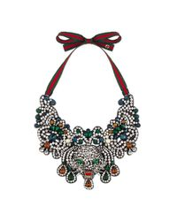 Gucci - Multicolor Crystal Cat Head Necklace - Lyst