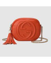 63967178d2a8 Gucci Soho Leather Mini Chain Bag in Orange - Lyst