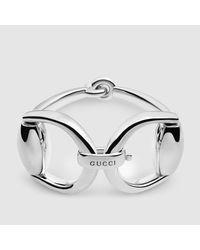 Gucci   Metallic Horsebit Bracelet In Silver   Lyst