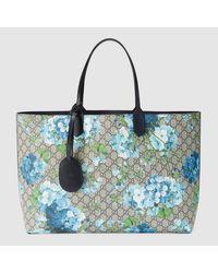 02d400312c2 Lyst - Gucci  reversible GG Blooms  Shopper Bag in Blue