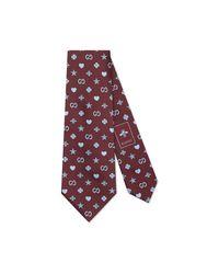 Gucci - Purple Corbata de Seda con Motivo de Símbolos for Men - Lyst