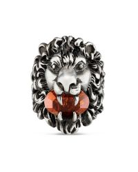 Gucci - Multicolor Lion Head Ring With Crystal for Men - Lyst