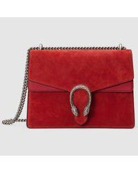 11957af1f42d Lyst - Gucci Dionysus Suede Shoulder Bag in Red
