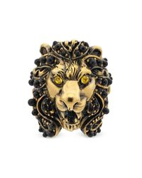 Gucci - Multicolor Lion Head Ring With Crystals - Lyst