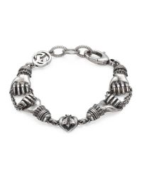 Gucci | Metallic Bracelet In Silver With Hand Motif | Lyst