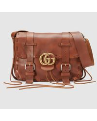 af0c0641a311 Gucci GG Marmont Leather Messenger Bag in Brown for Men - Lyst