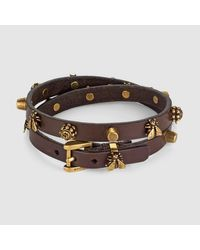 Gucci - Brown Leather Bracelet With Bee Motif - Lyst